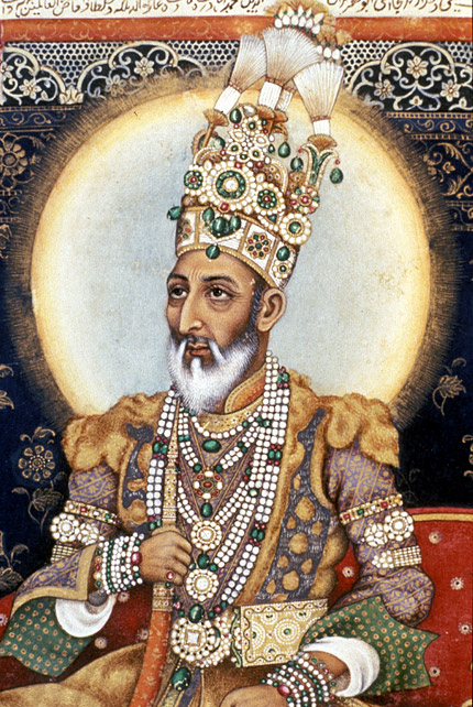 Emperor Bahadur Shah II Enthroned, opaque watercolor on paper, Mughal ...